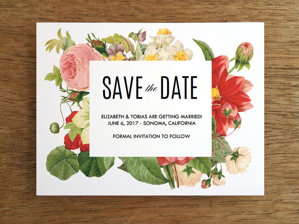 Lush Vintage Florals Printable Save the Date Card