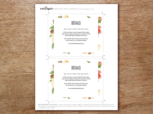 Printable Wedding Information Card Template - Lush Florals