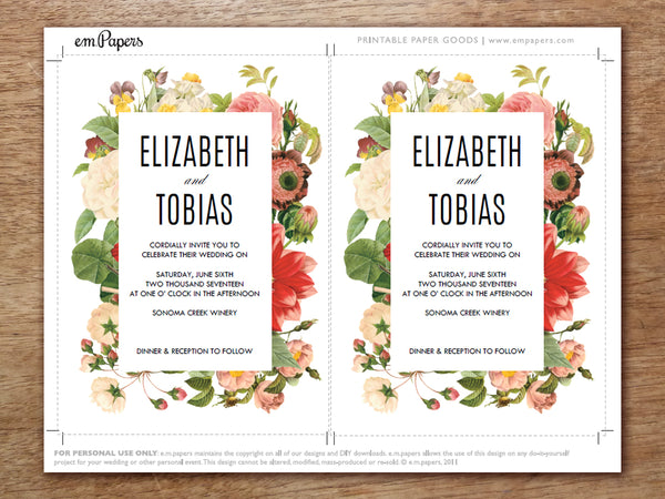 Printable Wedding Invitation Template - Lush Florals