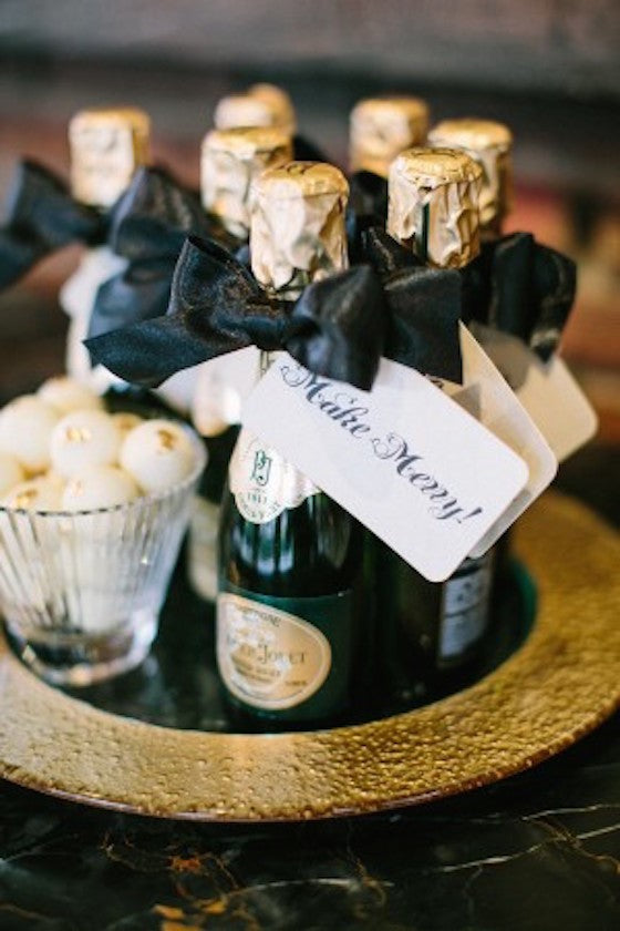 mini champagne wedding favors