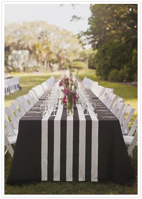 black and white striped wedding table setting