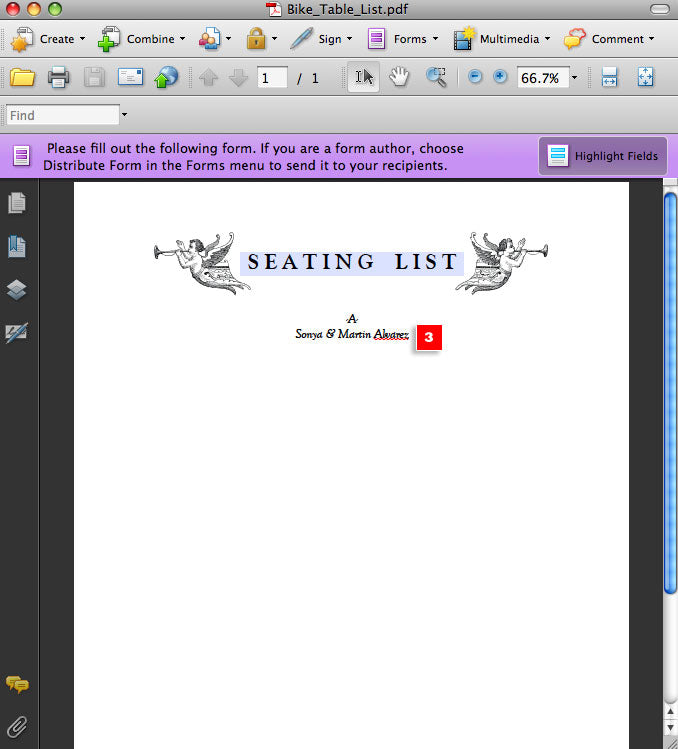 Editable Printable Seating List