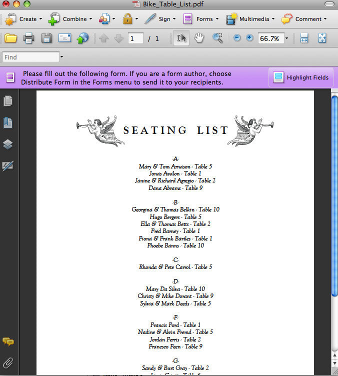 Printable Wedding Seating List