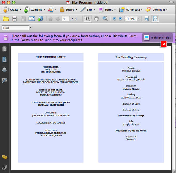 Entering wedding program wording into a printable wedding program