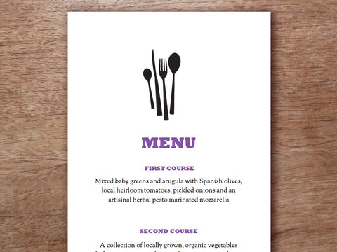 wedding menu template knife fork spoon