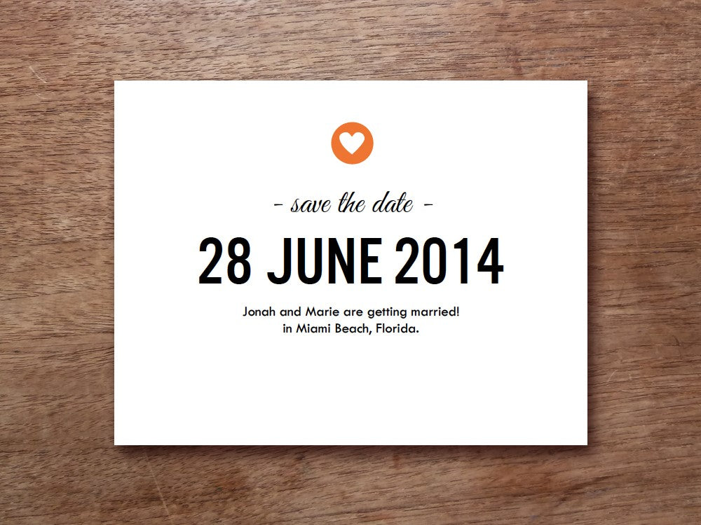 Simple heart save the date template