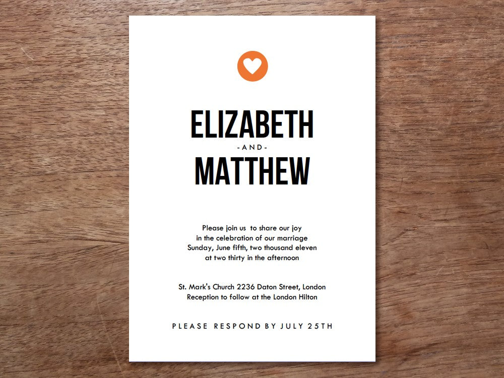 Simple heart printable wedding invitation
