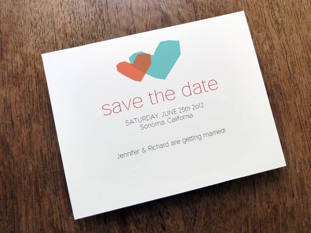 Two Hearts printable save the date template