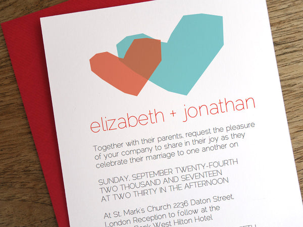 Printable Wedding Invitation - Two Hearts - Red and Blue Heart