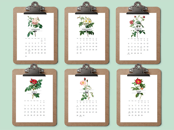 Printable calendar featuring vintage roses from e.m.papers July through December