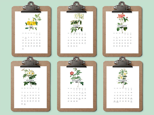 Printable calendar featuring vintage roses from e.m.papers January through June