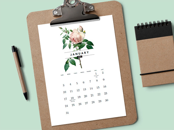 Printable calendar featuring vintage roses from e.m.papers