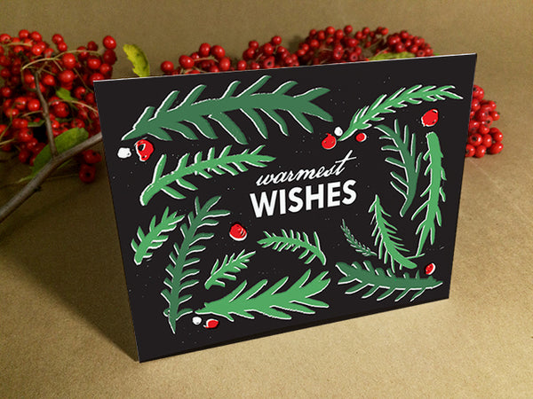 Printable Christmas Cards - Green Branches with red berries on black background