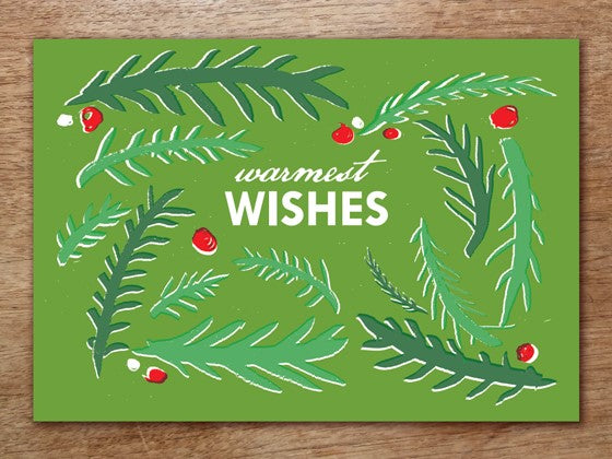 Christmas Card Template 'Warmest Wishes' Design