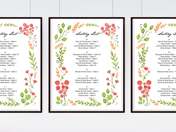 Floral wreath printable wedding seating chart