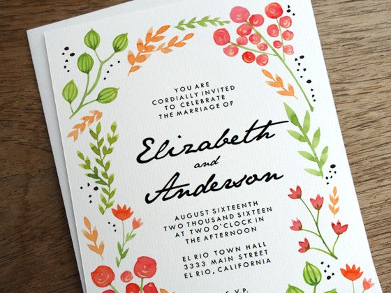 A printable wedding invitation featuring hand-drawn flowers and black typography