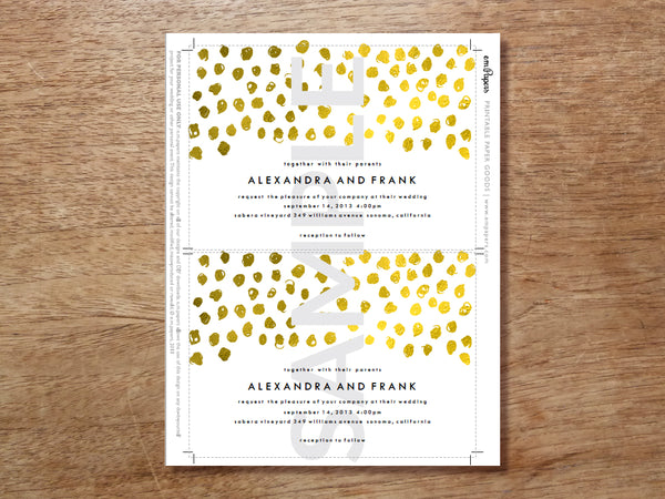 Wedding Invitation Sample - Gold Dots