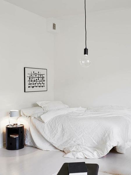Printable Black and White Art in Minimalist White Bedroom
