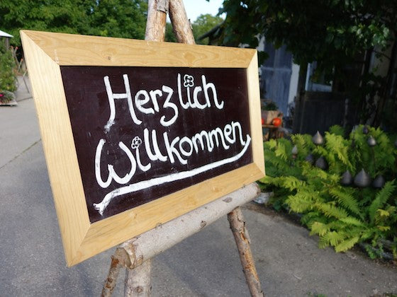 Herzlich Wilkommen wedding reception sign in Bavaria, Germany