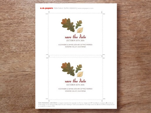 Fall leaves printable save the date card