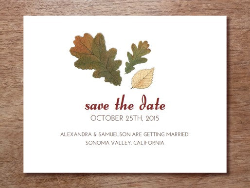 Autumn Leaves Save the Date Template