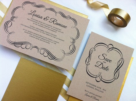 Craft paper wedding invitations