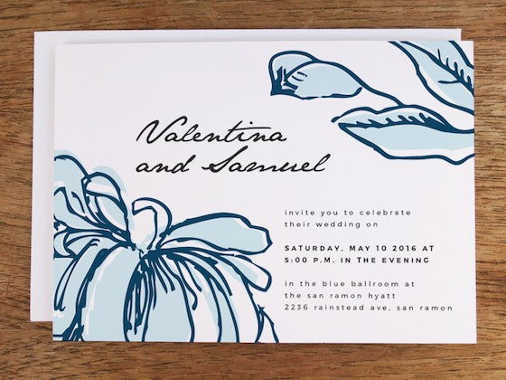 blue hand drawn blooms printable wedding invite design