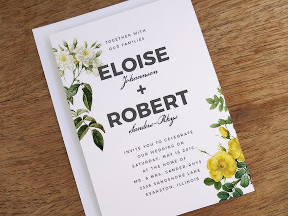 Botanical gray and white floral printable wedding invite design from e.m.papers.
