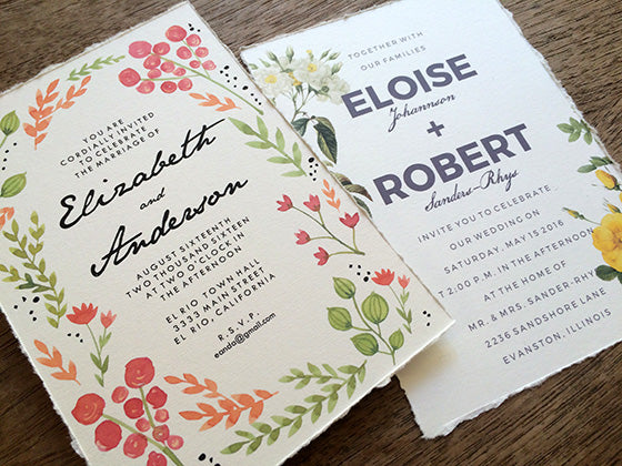 Printable Wedding Invitations with ragged edges