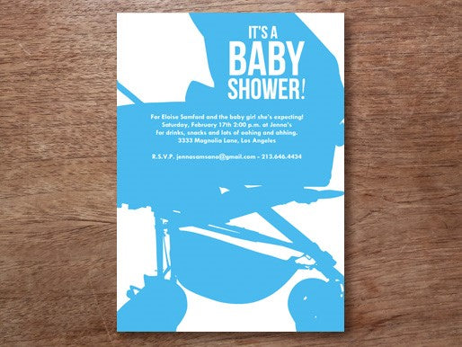cyan blue baby shower invitation template