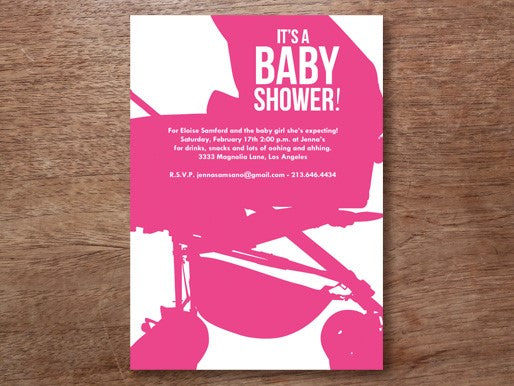 hot pink baby shower invite