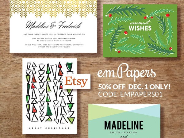 Cyber Monday Sale at the e.m.papers Etsy Store
