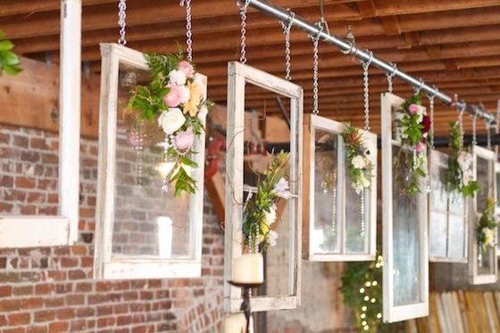 windowpane and roses wedding decorations