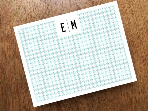 Printable Monogram Note Card Design From e.m.papers