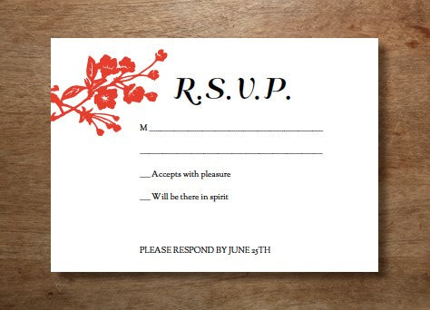 Printable wedding RSVP design from e.m.papers