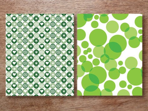 Green holiday-themed printable wrapping paper designs from e.m.papers