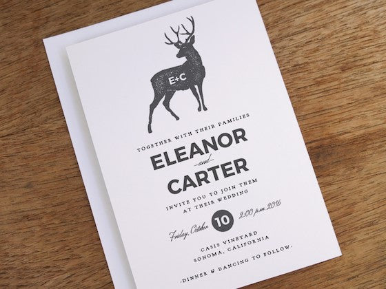 Wedding invitation featuring a deer and monogram. Part of the e.m.papers 31 day wedding invite 'design-a-day' challenge in March 2015