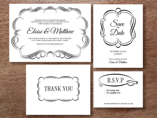 Black and white printable wedding invitation set from e.m.papers 'Flourish'