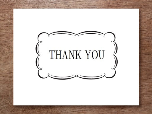 black and white printable thank you note
