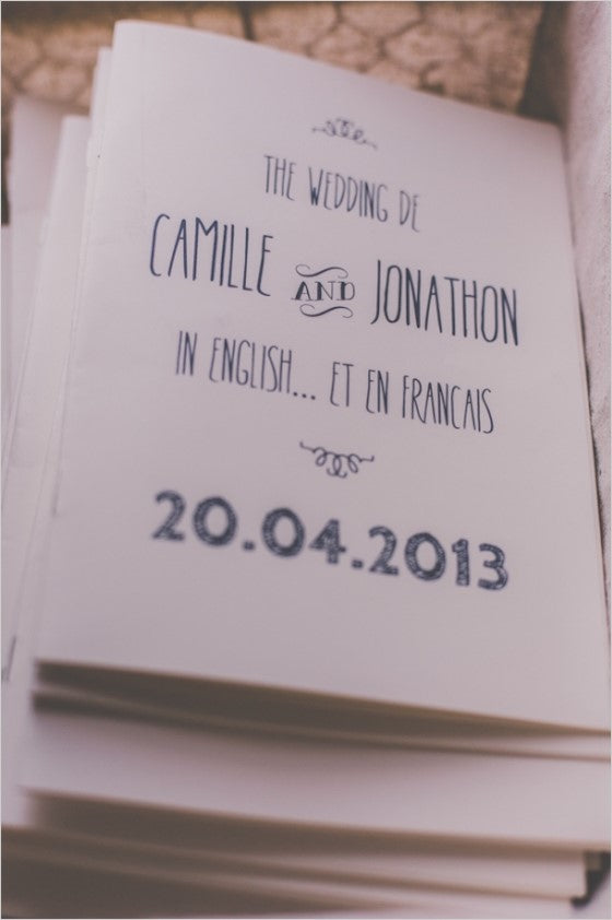 French-English bilingual wedding programs
