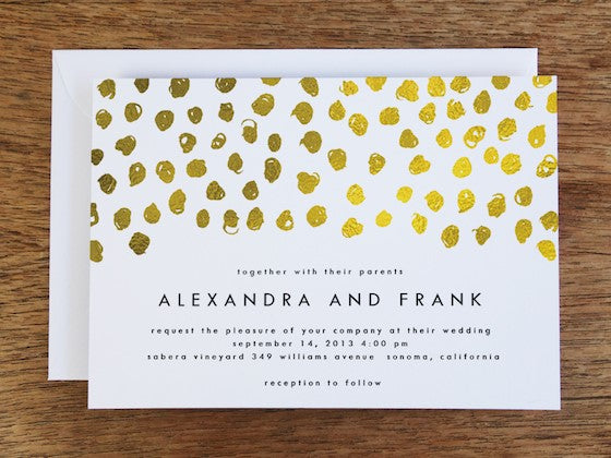 Gold confetti printable wedding invitation design from e.m.papers. Instant download wedding invitation printable.