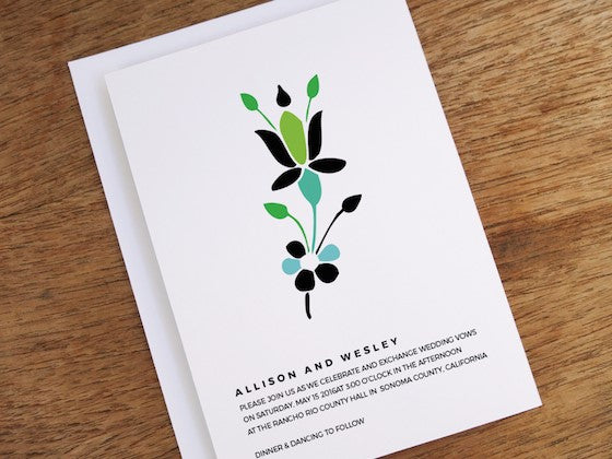 simple floral graphic wedding invite design