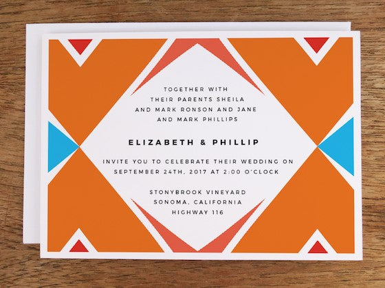 Southwestern graphic wedding invite design