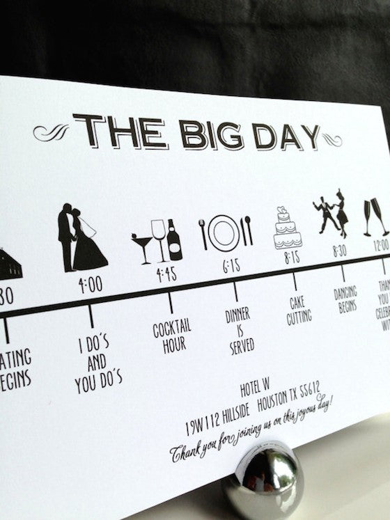 The Big Day wedding timeline sign