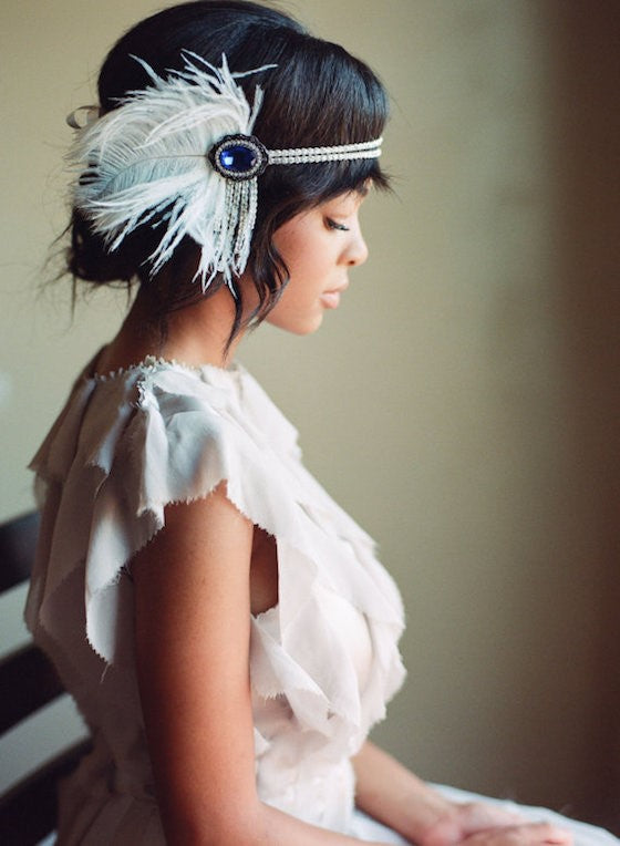1920s flapper wedding headpiece