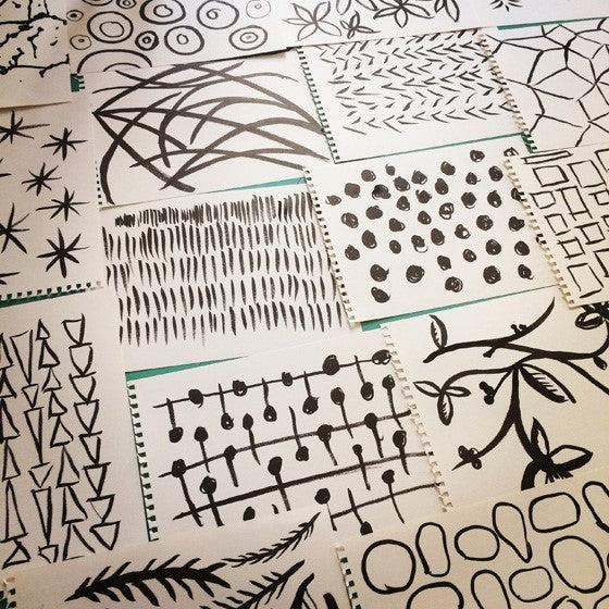 e.m.papers ink brush pattern drawings
