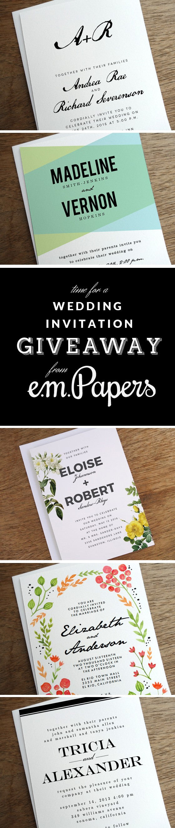 Printable wedding invitation giveaway contest from e.m.papers