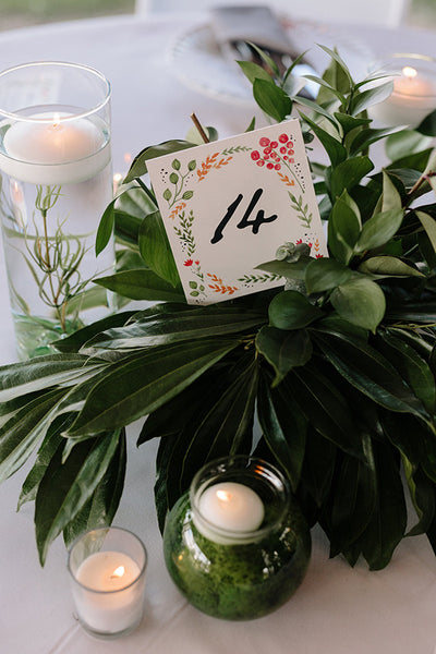 water color floral printable table numbers in wedding table greenery