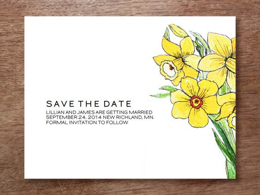 daffodil save the date template from e.m.papers and stephanie levy