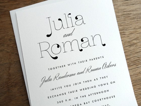 black and white loopy typography wedding invitation design